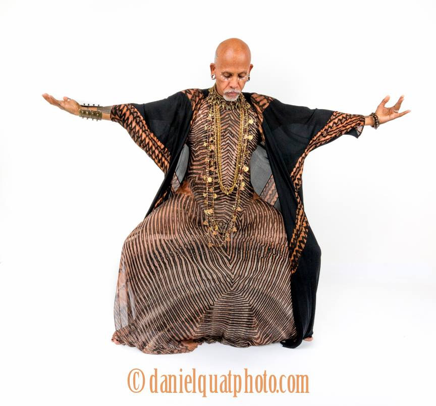 Randy Miller modeling Carter Smith Shibori silks and Susan Green Jewelry