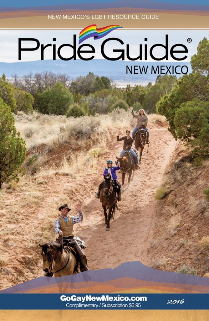 Cover story for NM Pride Guide showing Deborah, Lindsey and Eleanor at Ghost Ranch Stables in Box Canyon