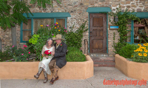 Janet and Randy got hitched in front of Inn at the Graces, Santa Fe, NM.