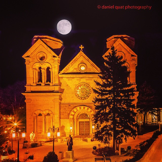 Moonrise over St. Francis Cathedral, Santa Fe, NM.