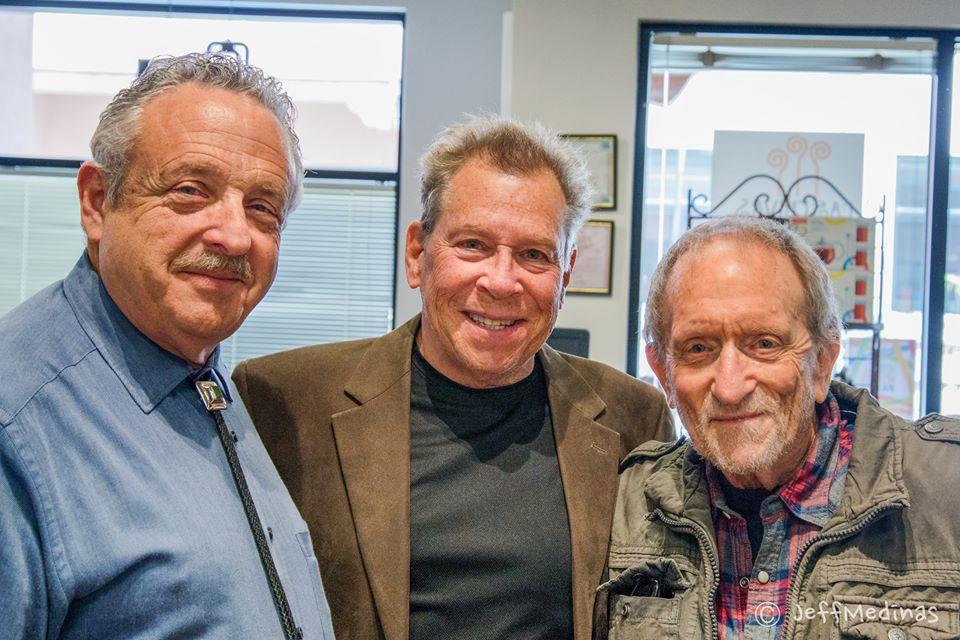 Three old timers from the days of film, attending my opening at Las Chivas: shown here L-R; Daniel Quat, Tony Bonano, Baron Wolman
