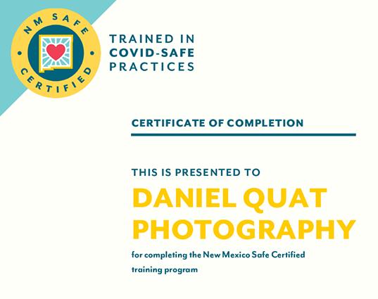 Covid safe practices Certificate Daniel Quat